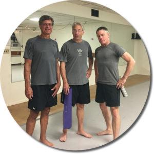 Three yoga students