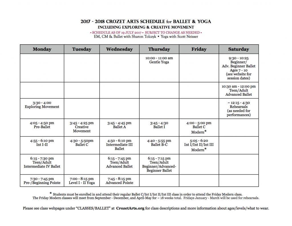 2017-2018 Crozet Arts Ballet & Yoga Schedule