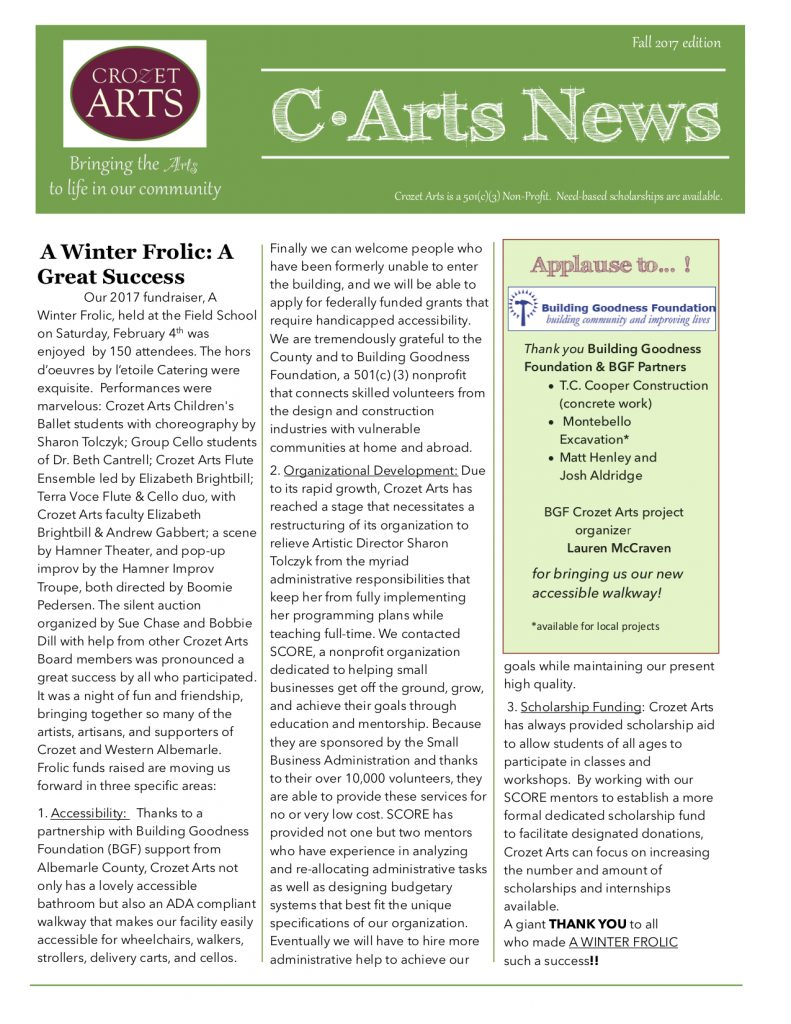 !Newsletter Fall 2017 Page 1